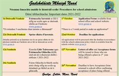 Iontráil Scoile 2021-2022 - School Admissions 2021-2022